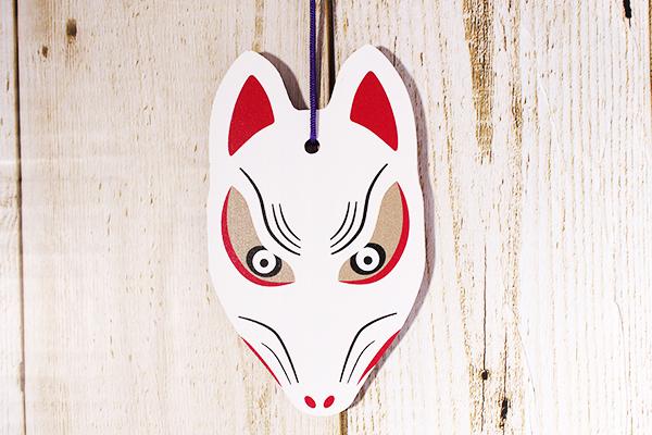 狐の顔の形をしたオリジナル絵馬